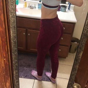 High-waisted pink workout leggings